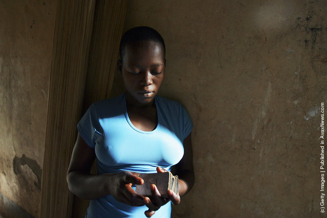 An unidentified abandoned Ugandan girl attends The World Vision Children of War Rehabilitation Center
