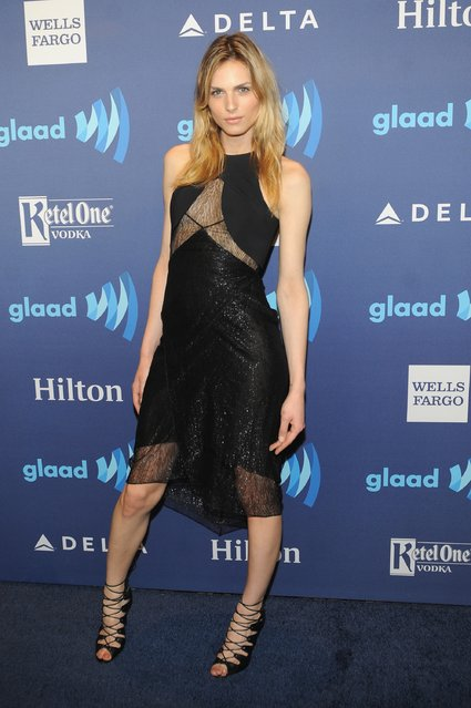 Model Andreja Pejic attends the VIP Red Carpet Suite hosted by Ketel One Vodka at the 26th Annual GLAAD Media Awards in New York on May 9, 2015 in New York City. (Photo by Brad Barket/Getty Images for Ketel One)