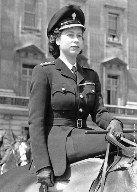1947: Princess Elizabeth rides out from Buckingham Palace, London to the Horse Guards' Parade