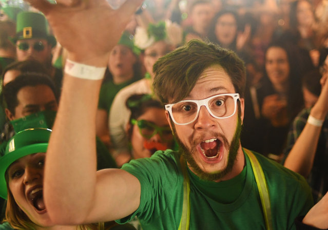 Nick Brown dances during the 12th annual Keggs and Eggs event at Blake Street Tavern on March 17, 2017 in Denver, Colorado. The event, hosted by radio station Channel 93.3, is considered to be the biggest St. Patrick's Day party in Colorado. (Photo by R.J. Sangosti/The Denver Post via Getty Images)