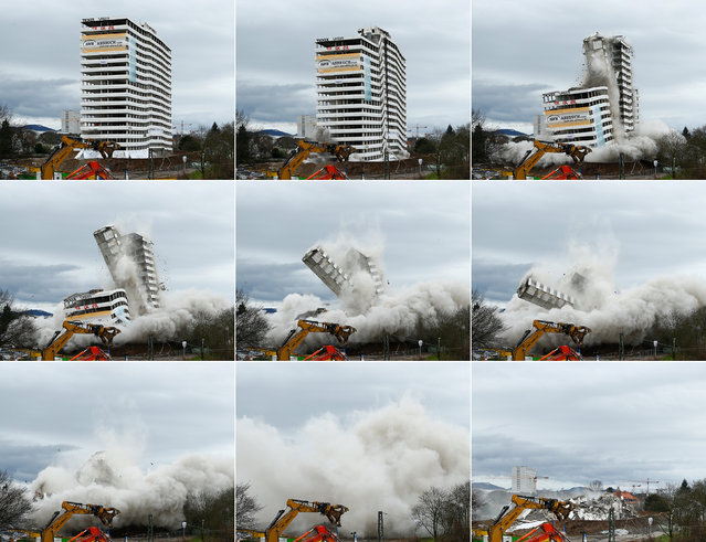 A combination picture shows the controlled demolition of Bonn Center in Bonn, Germany, March 19, 2017. (Photo by Thilo Schmuelgen/Reuters)