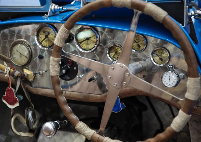The dashboard of a 1980 Teal Type 35 Bugatti (estimate £28,000 - £35,000) on display inside the Royal Horticultural Halls on April 11, 2017 in London, England. (Photo by Jack Taylor/Getty Images)