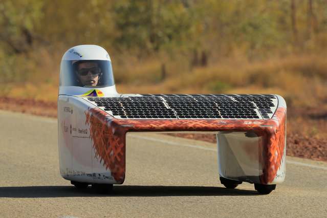 "The Vattenfall Solar Team car ""Nuna"" from the Netherlands competes in the Challenger class on Day 2 of the 2019 Bridgestone World Solar Challenge at Elliott on October 14, 2019 in Elliott Australia. Teams from across the globe are competing in the 2019 World Solar Challenge – a 3000 km solar-powered vehicle race between Darwin and Adelaide. The race starts on the 13th of October in Darwin in the Northern Territory and travels the Stuart Highway to Port Augusta and then via Highway 1 to finish in the City of Adelaide in South Australia. (Photo by Mark Evans/Getty Images for SATC)"