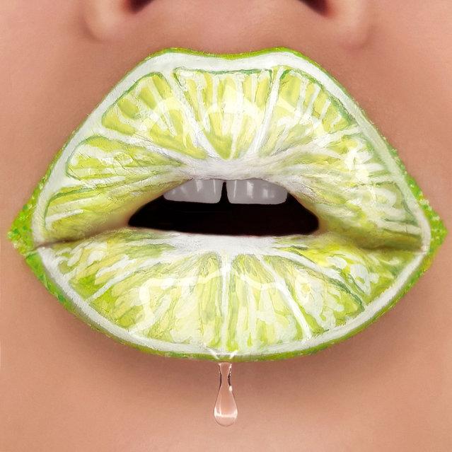 Tutushka's lipstick art work on her lips showing a lime. (Photo by Tutushka Matviienko/Caters News Agency)