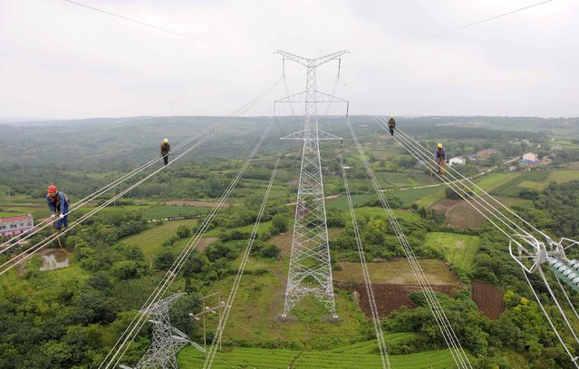 Workers walk along wires as they inspect newly-built electricity pylons above crop fields in Chuzhou, Anhui province, China, July 9, 2015. (Photo by Reuters/China Daily)
