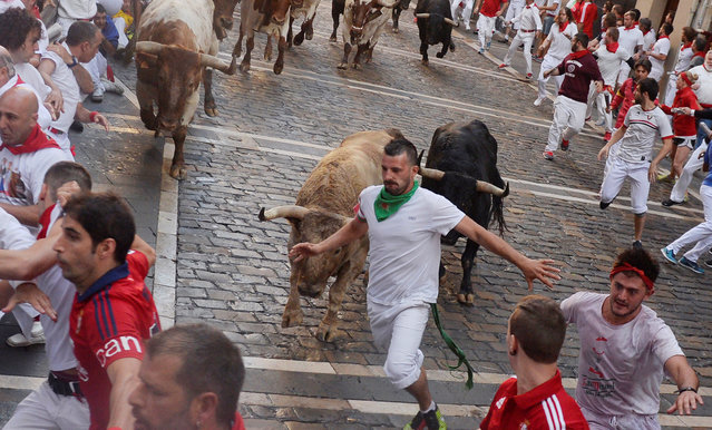 A runner sprints in front of Fuente Ymbro fighting bulls at the Estafeta corner during the first running of the bulls at the San Fermin festival in Pamplona, northern Spain, July 7, 2016. (Photo by Vincent West/Reuters)