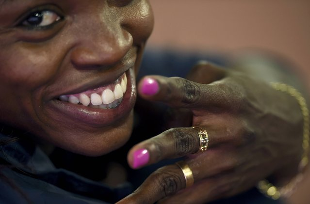 Caterine Ibargruen of Colombia smiles during the women's triple jump final during the 15th IAAF World Championships at the National Stadium in Beijing, China August 24, 2015. (Photo by Dylan Martinez/Reuters)
