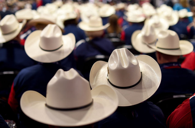 Texas Delegates on the first day of the Republican National Convention on July 18, 2016 at the Quicken Loans Arena in Cleveland, Ohio. (Photo by Timothy A. Clary/AFP Photo)