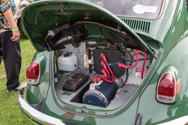 Rear of the 1970 VW e-Beetle, a Bug converted to run on electricity. (Photo by Robert Kerian/Yahoo Autos)