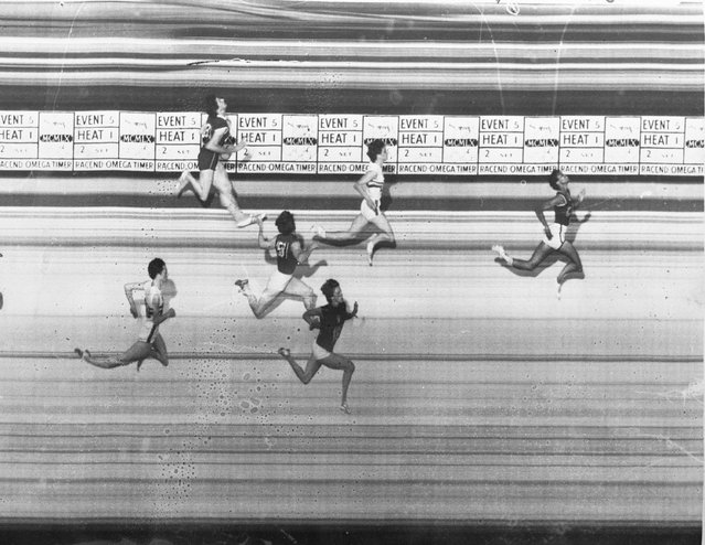 This is a photo finish of the women's 100-meter sprint event at the Olympic games in Rome, September 2, 1960. Winning the gold is Wilma Rudolph of the United States (right) who was clocked at 11.0 seconds.  Britain's Dorothy Hyman beat Italy's Giuseppina Leone for the silver medal. The others are Maria Itkina of Russia, 4th; Catherine Capdeville of France, 5th; and Jennifer Smart of Britain, 6th. (Photo by AP Photo)