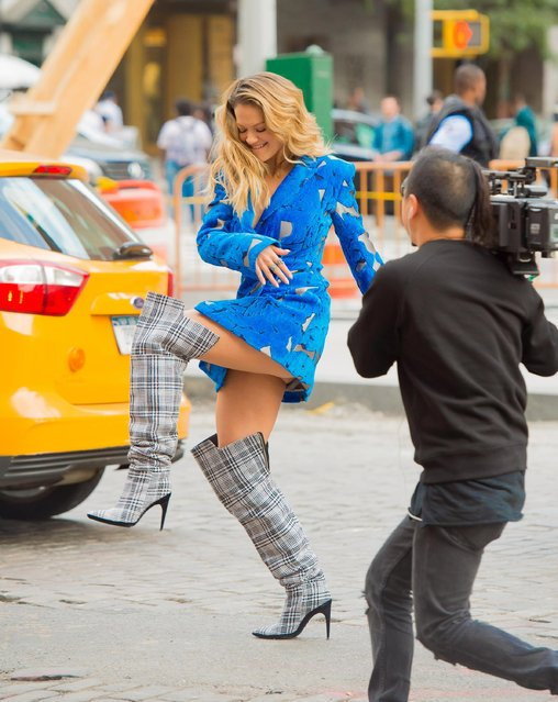 """Rita Ora is seen filming her music video """"Anywhere"""" in the Meat Packing District on October 5, 2017 in New York City. (Photo by Splash News and Pictures)"""