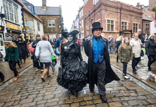 """A person attends the Whitby Goth Weekend in Whitby, Yorkshire, where Bram Stoker found some of his inspiration for """"Dracula"""" after staying in the town in 1890 in Whitby, United Kingdom on October 29, 2017. (Photo by Danny Lawson/PA Images via Getty Images)"""