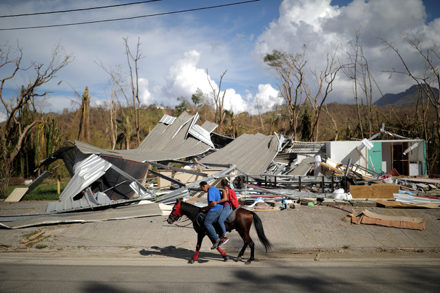 Local residents ride a horse by a destroyed building after Hurricane Maria in Jayuya, Puerto Rico, October 4, 2017. (Photo by Carlos Barria/Reuters)