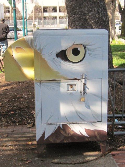 """Eagle Mural on Bin"". Seen in Hayward, CA. (Photo by  Sherrie Thai)"