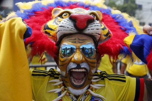 A fan of Colombia poses for a photo before the team's 2018 World Cup qualifying soccer match against Peru at the Roberto Melendez Stadium in Barranquilla, Colombia, October 8, 2015. (Photo by John Vizcaino/Reuters)