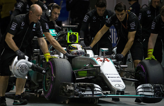 Formula One, Singapore Grand Prix, Marina Bay, Singapore on September 17, 2016. Mercedes' driver Lewis Hamilton of Britain during qualifying. (Photo by Jeremy Lee/Reuters)