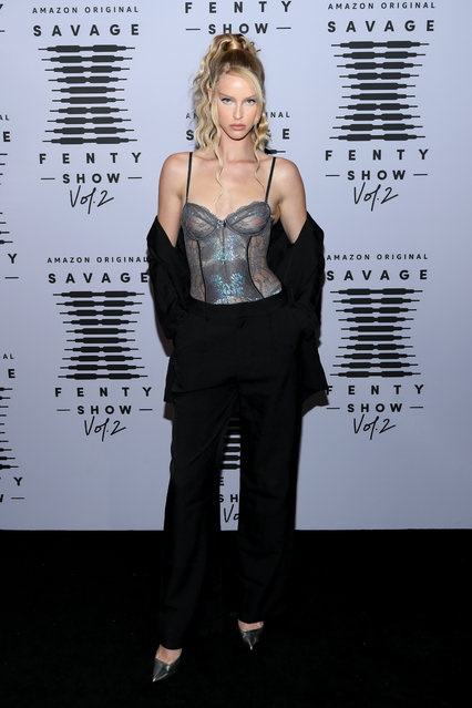 In this image released on October 1, Abby Champion attends Rihanna's Savage X Fenty Show Vol. 2 presented by Amazon Prime Video at the Los Angeles Convention Center in Los Angeles, California; and broadcast on October 2, 2020. (Photo by Jerritt Clark/Getty Images for Savage X Fenty Show Vol. 2 Presented by Amazon Prime Video)