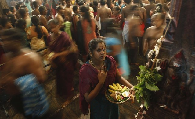A Hindu devotee prays during the annual Maha Shivaratri festival at Shivam Kovil in Colombo March 10, 2013. Sri Lanka's Hindu devotees celebrate the annual Maha Shivaratri festival by fasting for an entire day and holding a night long vigil at Hindu temples island wide. (Photo by Dinuka Liyanawatte/Reuters)