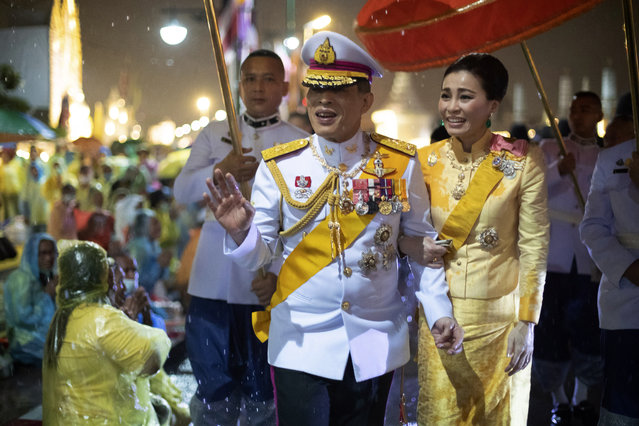 Thailand's King Maha Vajiralongkorn and Queen Suthida leave from Grand Palace after ceremony marking the fourth anniversary of the death of late Thai King Bhumibol Adulyadej, Bangkok, Thailand, Tuesday, October 13, 2020. (Photo by Wason WanichakornAP Photo)