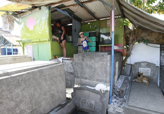 A family is seen inside their makeshift shanty on top of tombs inside the Manila South Public Cemetery in Pasay City, metro Manila October 30, 2015. (Photo by Romeo Ranoco/Reuters)