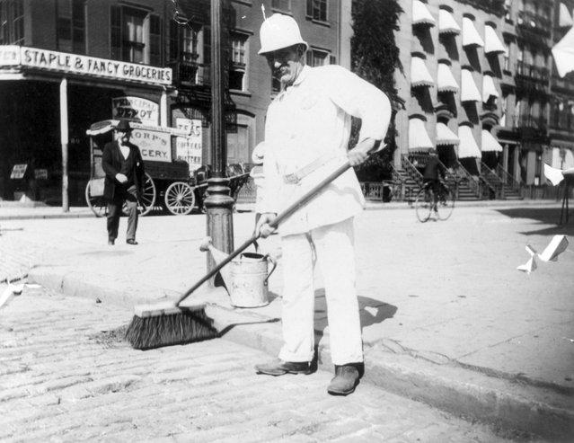 Street cleaner. New York City, circa 1896. (Photo by Elizabeth Alice Austen)