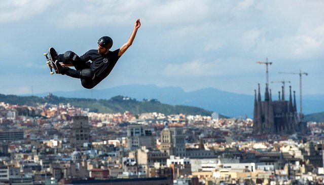 Marcelo Bastos warms up prior to the Skateboard Vert Final at the Montjuic Pool during the X-Games Barcelona, on May 16, 2013. (Photo by David Ramos/Getty Images)