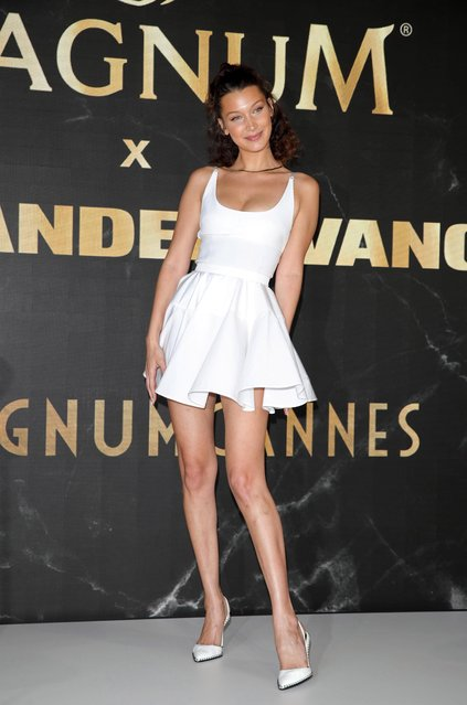 "Bella Hadid at the ""Magnum – Alexander Wang Collaboration Unveiling"" press conference during the 71st Cannes Film Festival at the Magnum Beach Lounge, L'Ondine on May 10, 2018 in Cannes, France. (Photo credit should read John Rasimus/Barcroft Media via Getty Images)"