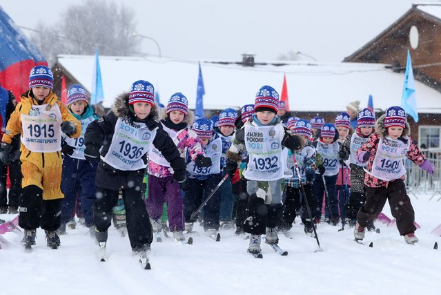 Participants in the children's event of the 2021 Ski Track of Russia mass ski race in Pargolovo in St Petersburg, Russia on February 13, 2021. (Photo by Alexander Demianchuk/TASS)