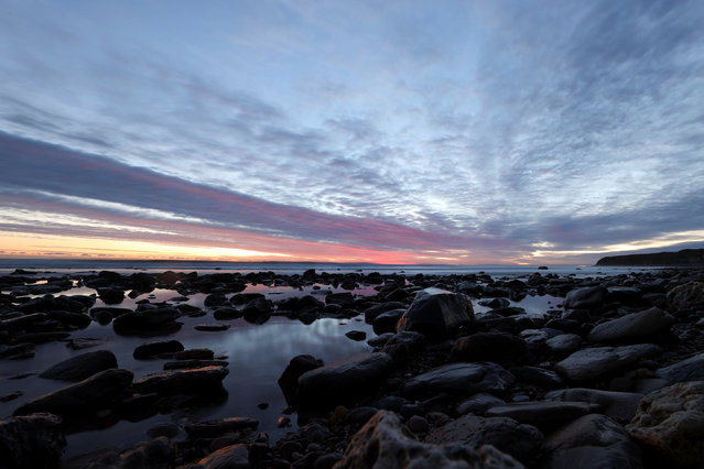 A sunrise view at Chemical Beach in Seaham, Britain, January 13, 2021. (Photo by Lee Smith/Reuters)