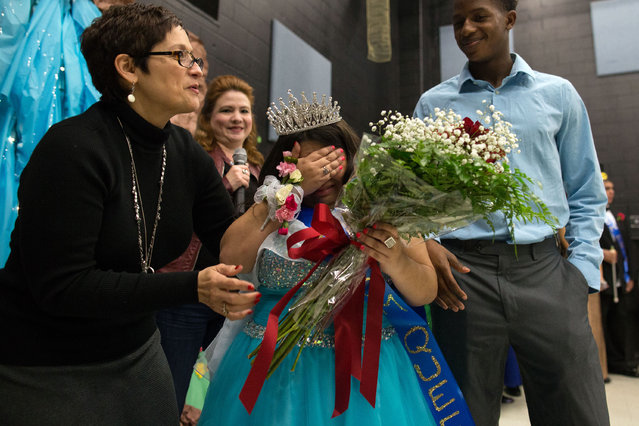 Ryan Gonzalez becomes emotional after being named queen during the Special Hearts prom at Moody High School, Wednesday, January 6, 2016, in Corpus Christi, Texas. (Photo by Courtney Sacco/Corpus Christi Caller-Times via AP Photo)