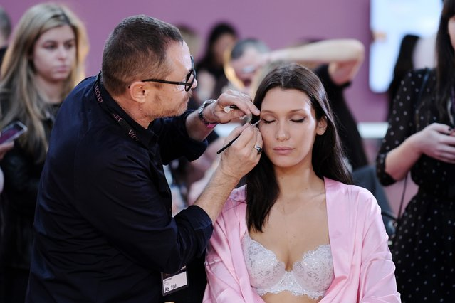 Bella Hadid has her Hair & Makeup done prior the 2016 Victoria's Secret Fashion Show on November 30, 2016 in Paris, France. (Photo by Dimitrios Kambouris/Getty Images for Victoria's Secret)