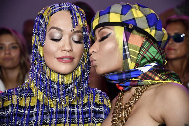 British singer Rita Ora (L) and US singer Nicki Minaj before the Versace show during the Milan Fashion Week, in Milan, Italy, 21 September 2018. The Spring Summer 2019 Women's collections are presented at the Milano Moda Donna from 19 to 23 September. (Photo by Flavio Lo Scalzo/EPA/EFE)