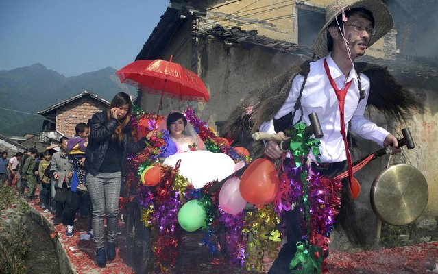 Newlywed groom Meng Jun (R), 29, pulls a cart carrying his bride Zeng Shuangying, 25, during a traditional wedding ceremony in Shitang village of Gongcheng Yao Autonomous County, Guangxi Zhuang Autonomous Region November 21, 2013. Many locals still follow the tradition of carrying out pranks to make fun of newlywed couples, including preparing costumes for the groom, painting his face with ink, setting barricades for the cart he has to pull, and so on. (Photo by Reuters/Stringer)