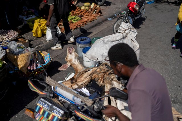 A man unties a goat from his motorcycle to take it for sale at a market in Port-au-Prince, Haiti on July 17, 2021. (Photo by Ricardo Arduengo/Reuters)