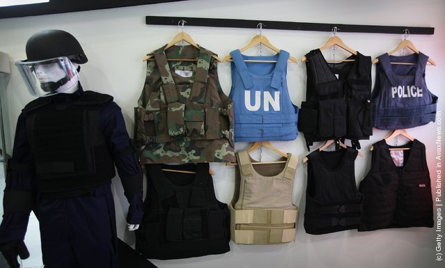 South African body armour is displayed at the Defence and Security Exhibition