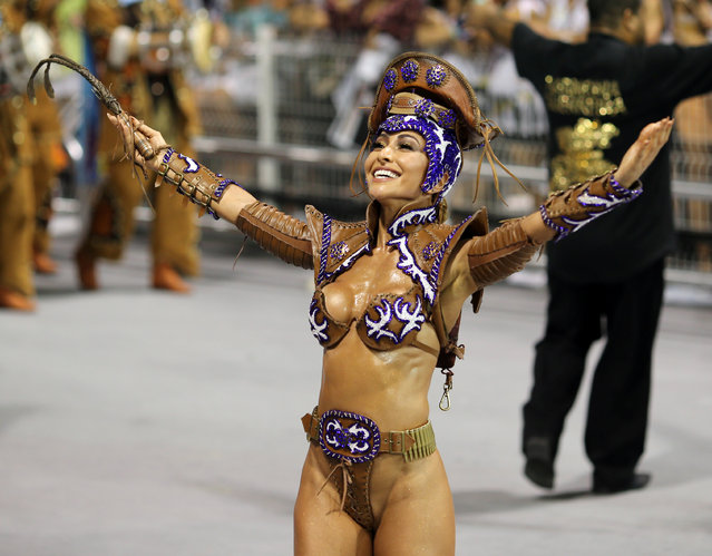 Brazilian model Sabrina Sato parades for the Gavioes da Fiel samba school during the carnival in Sao Paulo, Brazil, February 25, 2017. (Photo by Paulo Whitaker/Reuters)