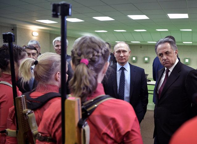 Russia's President Vladimir Putin (2nd R) and Deputy Prime Minister Vitaly Mutko (R) visit the Academy of Biathlon regional training center in the Siberian city of Krasnoyarsk, March 1, 2017. (Photo by Aleksey Nikolskyi/Reuters/Sputnik/Kremlin)