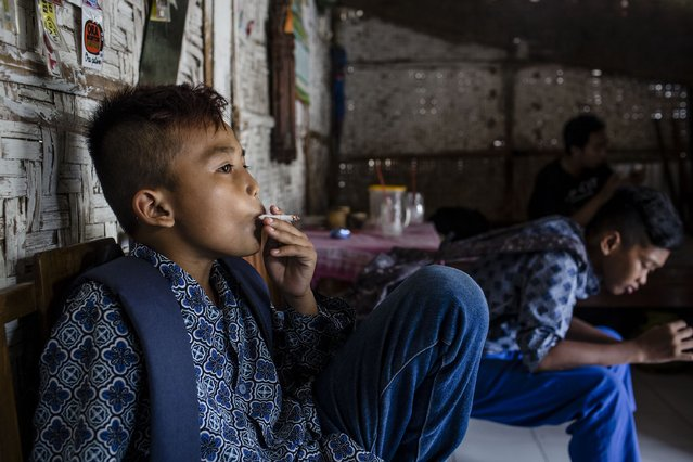 Satrio smokes at a kiosk after elementary school on March 3, 2017 in Yogyakarta, Indonesia. Satrio has smoked up to one pack a day and began when he was six years old. (Photo by Ulet Ifansasti/Getty Images)