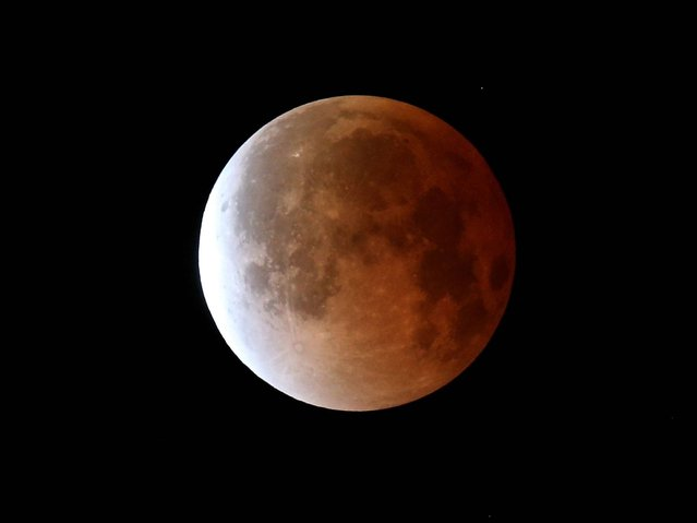 The moon is seen during a total lunar eclipse in Miami, Florida. (Photo by Joe Raedle/Getty Images)