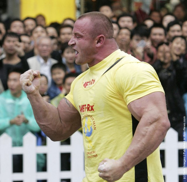 Mariusz Zbigniew of Poland, celebrates after he won the Squat event of the 2005 World's Strongest Man Competition