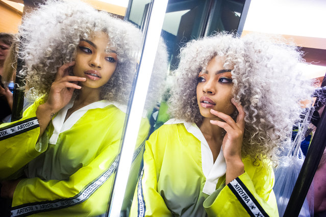 The Instagram star and soul singer Juanialys prepares backstage for Artistix S/S20 during New York Fashion Week on September 05, 2019 in New York City. (Photo by Steven Ferdman/Getty Images)
