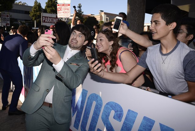 """Ian Hecox seen at the Los Angeles Premiere of AwesomenessTV and Defy Media's """"SMOSH: THE MOVIE"""" held at Westwood Village Theatre on Wednesday, July 22, 2015, in Los Angeles. (Photo by Dan Steinberg/Invision for AwesomenessTV/AP Images)"""