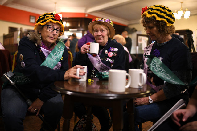 WASPI (Women Against State Pension Inequality) campaigners gather at a Labour event hosted by Labour leader Jeremy Corbyn in Renishaw on November 25, 2019 in Derbyshire, England. A day after Prime Minister Boris Johnson launched the conservative manifesto, Jeremy Corbyn is expected to announce Labour's housing policy. (Photo by Leon Neal/Getty Images)