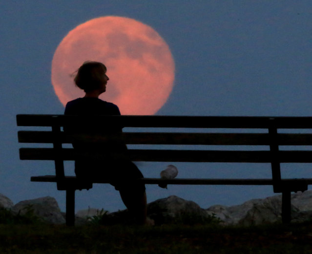 """A so-called """"blue moon"""", which typically refers to a second full moon appearance within the same month, rises over the Lake Michigan horizon in Milwaukee, Wis. Friday, July 31, 2015. (Photo by John Hart/Wisconsin State Journal via AP Photo)"""
