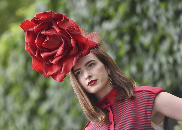 Britain Horse Racing, Royal Ascot, Ascot Racecourse on June 16, 2016. Ladies Day Racegoer wears hat. (Photo by Toby Melville/Reuters)