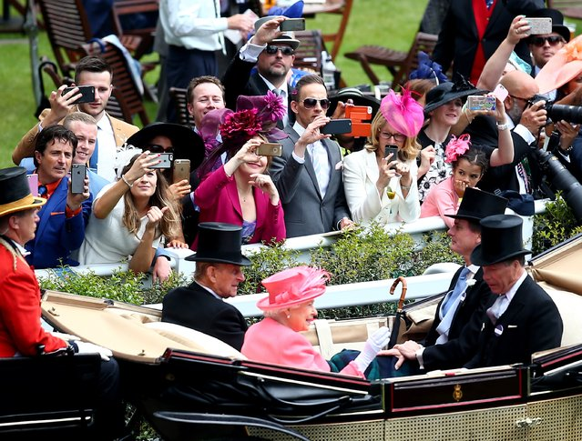 Queen Elizabeth II, Prince Philip, Duke of Edinburgh, The Duke of Fife and Viscount Linley arrive in the Royal Procession on day 4 of Royal Ascot at Ascot Racecourse on June 17, 2016 in Ascot, England. (Photo by Charlie Crowhurst/Getty Images for Ascot Racecourse)