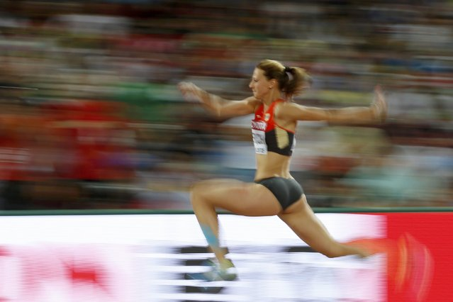 Kristin Gierisch of Germany competes in the women's triple jump final during the 15th IAAF World Championships at the National Stadium in Beijing, China, August 24, 2015. (Photo by Phil Noble/Reuters)