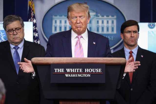 US President Donald J. Trump speaks during a press conference in the Brady Press Briefing Room of the White House, Washington, DC, USA, 01 April 2020. (Photo by Oliver Contreras/EPA/EFE)