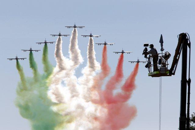 The Italian Freccie Tricolori aerobatics team perform prior the start of the Italian F1 Grand Prix in Monza, northern Italy September 6, 2015. (Photo by  Giampiero Sposito/Reuters)
