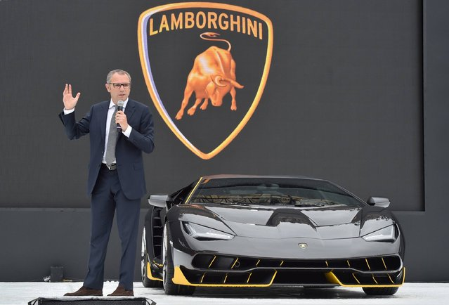 Stefano Domenicali, Chief Executive Officer of Automobill Lamborghini, delivers a speech during a media conference in Tokyo on Sepember 16, 2016. The event is part of the Lamborghini Day to commemorate Ferruccio Lamborghini's 100th anniversary of his birth, and also marks the 50th anniversary of the debut of the stunning Miura. (Photo by Kazuhiro Nogi/AFP Photo)